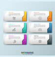 six white separate rectangular elements with vector image