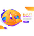 smart workout young man running or jogging in the vector image