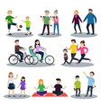 sport and healthy family set vector image