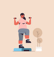 sportswoman doing exercises with dumbbells on vector image