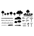 tree plants and grass graphic design a set vector image