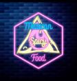 vintage dental emblem glowing neon sign on brick vector image vector image