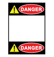 warning sign danger sign with blank space vector image vector image