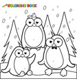 winter landscape with penguins in snow vector image
