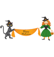 Witch and cat with banner vector image vector image