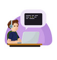 young programmer man character coding flat vector image