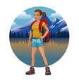 hiking girl design vector image