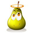 Pear with happy face vector image