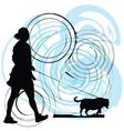 woman walking her dog vector image