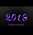 2019 violet new year sign with glitter and vector image vector image