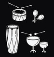 a set of percussion musical instruments vector image vector image