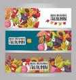 autumn season theme concept horizontal banner vector image vector image