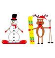 cartoon deer skier and snowman snowboarder vector image vector image