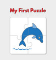 cartoon dolphin puzzle template for children vector image vector image