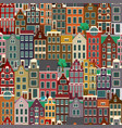 city streets with old buildings seamless pattern vector image
