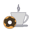 coffee cup and donut vector image vector image