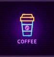 coffee neon label vector image vector image