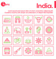 color linear icon banner india culture set vector image