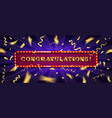 congratulations banner with glitter decoration vector image vector image