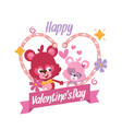 couple teddy bears for valentines card vector image vector image