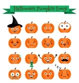 Cute halloween pumpkin emoji set Emoticons vector image vector image