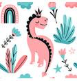 cute pink dino princess seamless pattern vector image vector image