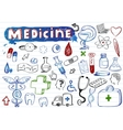 Doodle hospital icons vector image vector image