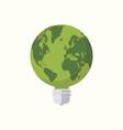 earth globe lightbulb icon flat design vector image vector image