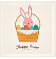 easter bunny with easter basket full easter vector image