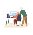 elderly couple plan vacation trip together vector image vector image