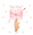 envelope be mine pink lover s letter with vector image