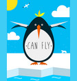 fat penguin wants to fly vector image vector image