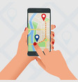 flat gps navigation in phone with a red vector image