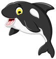 funny killer whale cartoon jumping vector image vector image