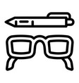 glasses and pen icon outline style vector image vector image