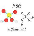 H2SO4 sulfuric acid molecule vector image vector image