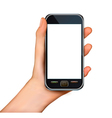 hand with smartphone vector image vector image
