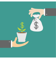 Hands with money tree and moneybag Exchanging vector image vector image