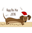 happy 2018 new year card funny dachshund dog vector image