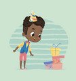 happy african american child boy excited vector image