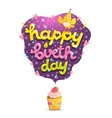 Happy Birthday card with raspberry cupcake vector image vector image