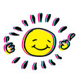 happy hand drawn sun colorful vector image vector image