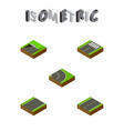 isometric road set of unilateral footer driveway vector image vector image