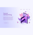 isometric social networking concept business vector image