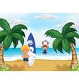 kids enjoying summer at beach vector image