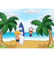 Kids enjoying summer at the beach vector | Price: 1 Credit (USD $1)