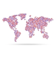 Mosaik pink retro style world map vector image vector image