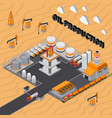 oil production isometric composition vector image vector image