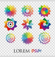 pack of 9 transparent rainbow abstract geometric vector image vector image