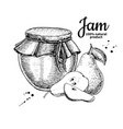 pear jam glass jar drawing fruit jelly an vector image